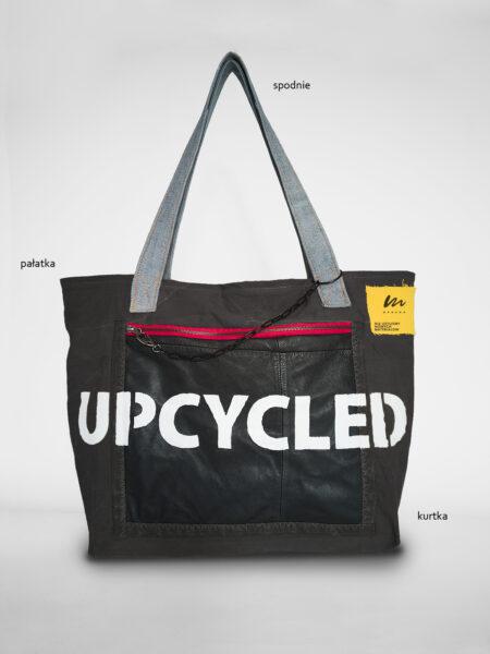duża torba pocket upcycled czarna