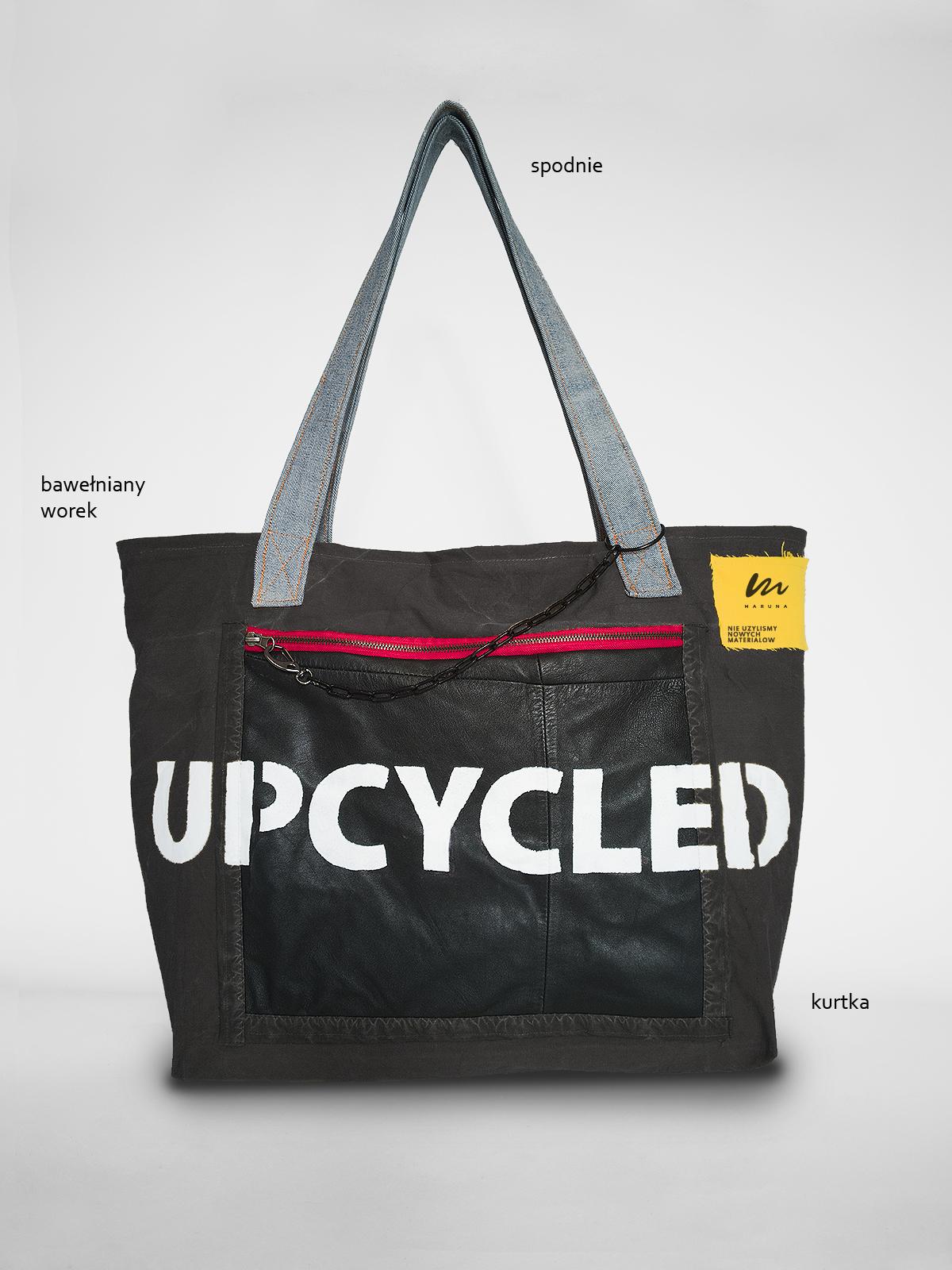 torba upcycled pocket czarna